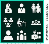 set of 9 people filled icons... | Shutterstock . vector #1133074322