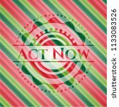act now christmas colors emblem. | Shutterstock .eps vector #1133083526