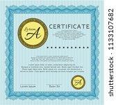 light blue certificate of... | Shutterstock .eps vector #1133107682
