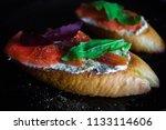 bruschetta or sandwich with... | Shutterstock . vector #1133114606