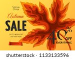 autumn sale banner with carving ... | Shutterstock .eps vector #1133133596