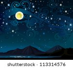 Vector Night Starry Sky With...
