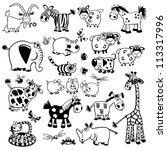 Set Of Cartoon Animals Black...