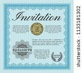 light blue vintage invitation.... | Shutterstock .eps vector #1133181302