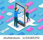 online dating isometric concept.... | Shutterstock . vector #1133185292