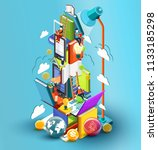 a tower of books education...   Shutterstock . vector #1133185298