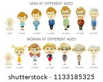 man and woman aging concept.... | Shutterstock . vector #1133185325