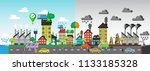 green and polluted city... | Shutterstock . vector #1133185328