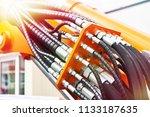 hoses of modern hydraulic... | Shutterstock . vector #1133187635