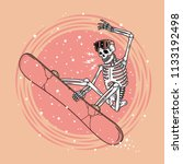 skeleton snowboarder color  | Shutterstock .eps vector #1133192498