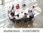 businesswoman addressing... | Shutterstock . vector #1133218652