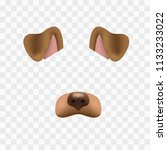 dog face mask for video chat... | Shutterstock .eps vector #1133233022
