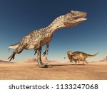 allosaurus and nasutoceratops... | Shutterstock . vector #1133247068