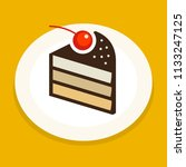 sweet cake piece icon or symbol ... | Shutterstock .eps vector #1133247125