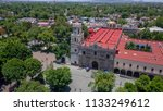 Aerial view of the city of Coyoacan Mexico Church and park