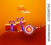 shiny rakhi with gift boxes on... | Shutterstock .eps vector #1133249765