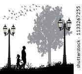 silhouette of people walking in ... | Shutterstock .eps vector #1133267255