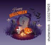 halloween pumpkin  skull ... | Shutterstock .eps vector #1133278925