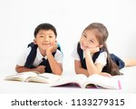 happy little boy and girl... | Shutterstock . vector #1133279315