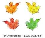 set of 4 autumn watercolor...   Shutterstock . vector #1133303765