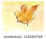 watercolor autumn maple leaf....   Shutterstock . vector #1133303768