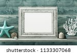 white frame with shell and... | Shutterstock . vector #1133307068