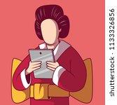 geisha using a tablet vector... | Shutterstock .eps vector #1133326856