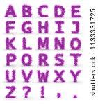 pink fur alphabet letters... | Shutterstock . vector #1133331725