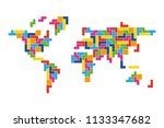 world map mosaic of colorful... | Shutterstock .eps vector #1133347682