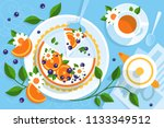 serving table for tea with pie   Shutterstock .eps vector #1133349512