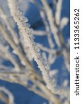 hoarfrost on tree limbs against ... | Shutterstock . vector #1133365262