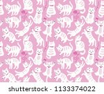 seamless pattern with cats | Shutterstock .eps vector #1133374022