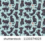 seamless pattern with cats | Shutterstock .eps vector #1133374025