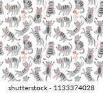 seamless pattern with cats | Shutterstock .eps vector #1133374028