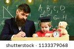 teacher in formal wear and... | Shutterstock . vector #1133379068