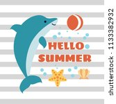 hello summer card with playing... | Shutterstock . vector #1133382932