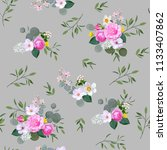 floral seamless pattern with...   Shutterstock .eps vector #1133407862