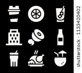 filled set of 9 food icons such ... | Shutterstock . vector #1133420402