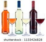 wine bottles glasses wines red... | Shutterstock . vector #1133426828