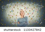 cheerful blonde with blue eyes... | Shutterstock . vector #1133427842