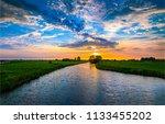 summer sunset rural river... | Shutterstock . vector #1133455202