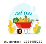 wheelbarrow full of ripe... | Shutterstock .eps vector #1133455292