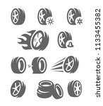 vector black tire icons on... | Shutterstock .eps vector #1133455382