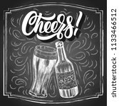 cheers  hand lettering with... | Shutterstock .eps vector #1133466512