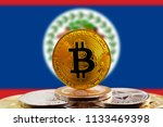 bitcoin btc on stack of... | Shutterstock . vector #1133469398