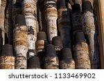 oil drill pipe. rusty drill... | Shutterstock . vector #1133469902
