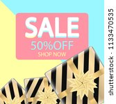 sale banner with gift boxes.... | Shutterstock .eps vector #1133470535