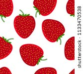 red strawberry seamless pattern.... | Shutterstock .eps vector #1133470538