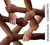 diversity teamwork as a group... | Shutterstock . vector #1133480795