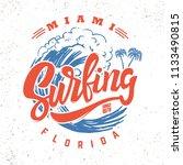surfing miami florida.... | Shutterstock .eps vector #1133490815
